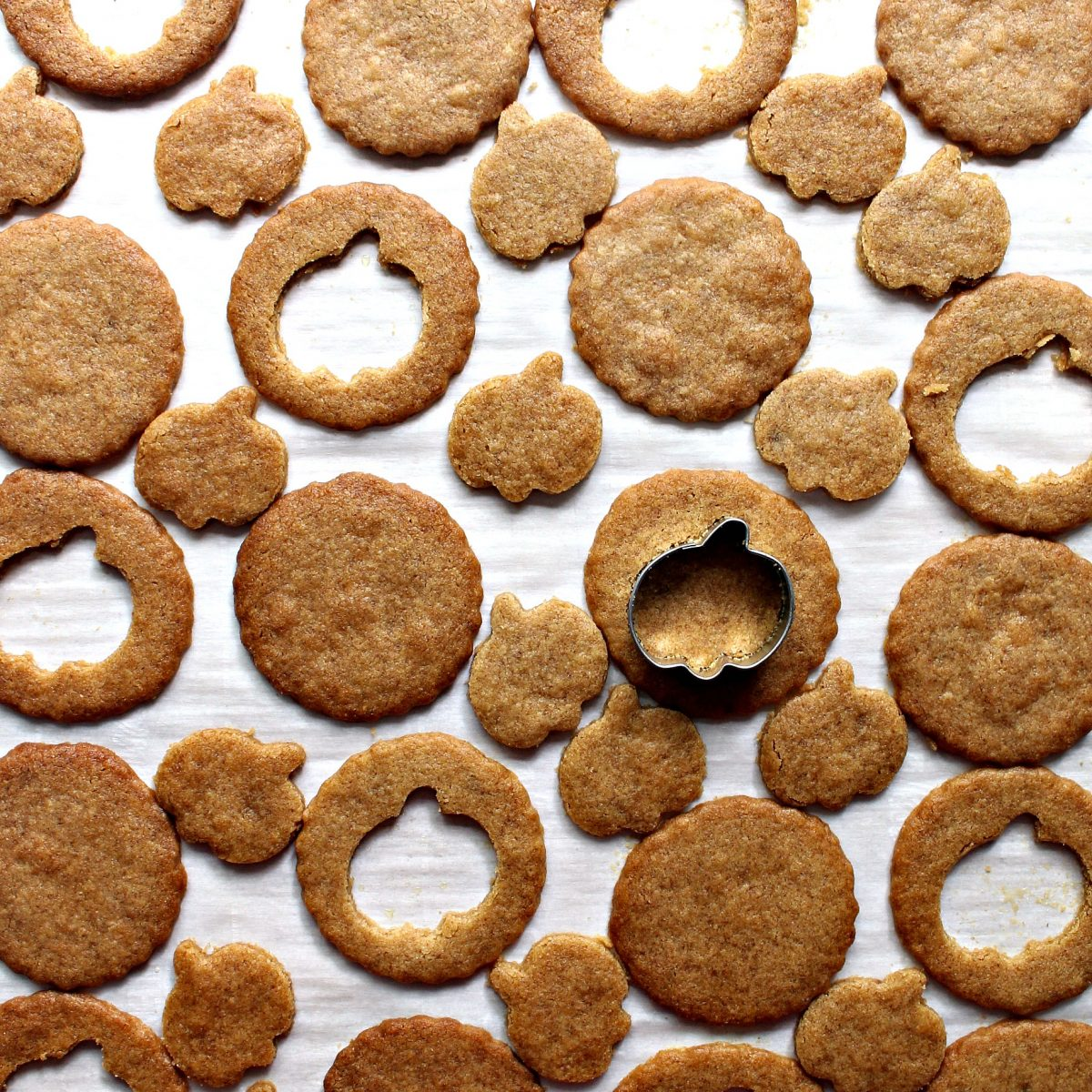 Round graham cookies with centers  cut out with a pumpkin cookie cutter.