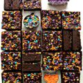 Sliced Pumpkin Brownies with Halloween sprinkles