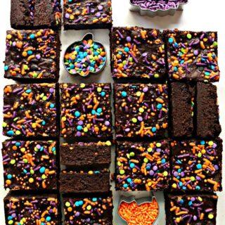 sliced brownies with Halloween sprinkles