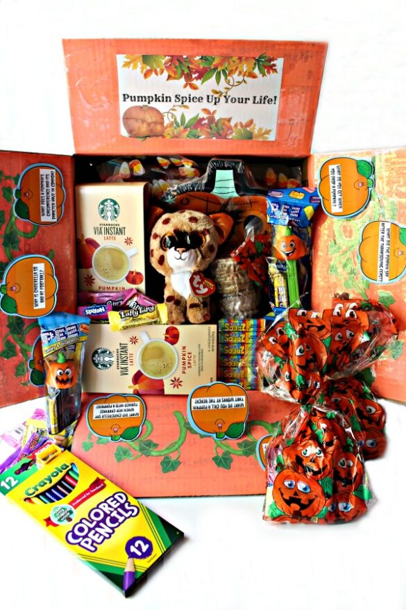 Halloween care package decorated for pumpkin theme