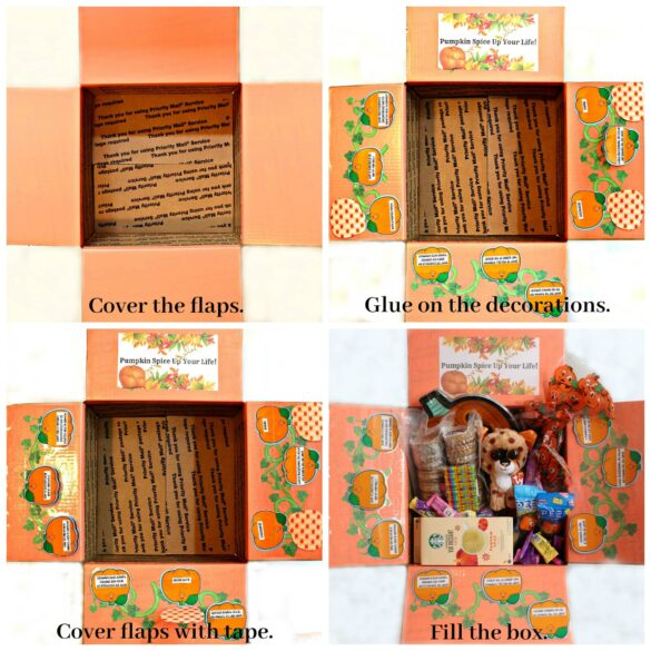 Collage with step by step images for decorating box flaps, with text overlay