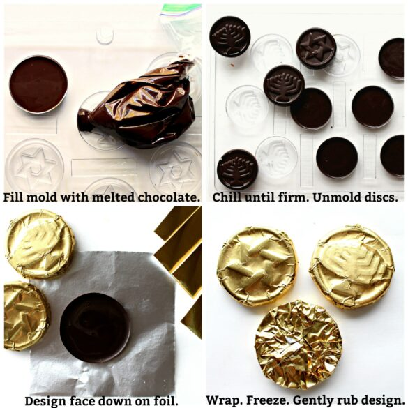 collage of chocolate molding process