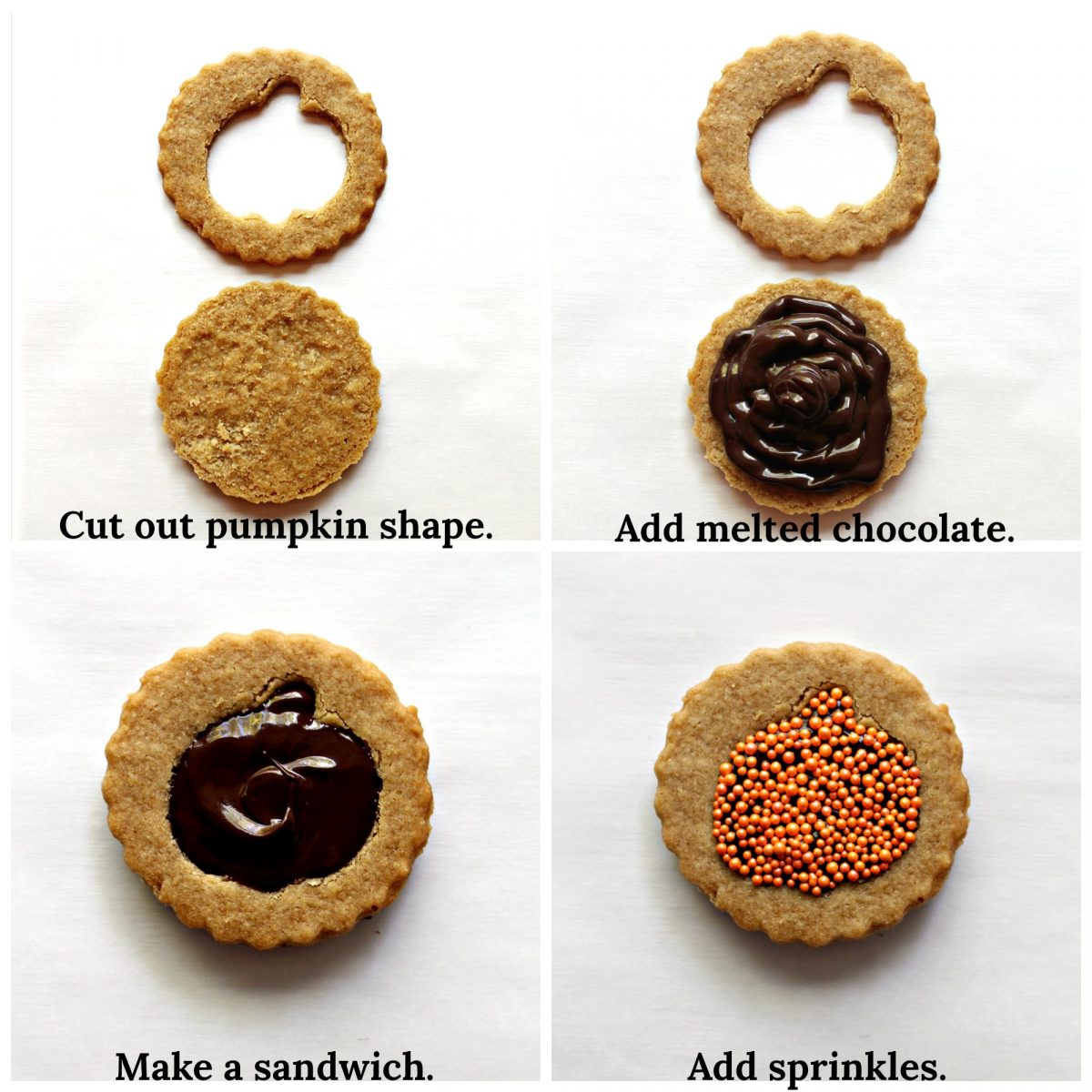 Collage showing cookie decorating process cutting out shape, adding chocolate, adding top cookie and sprinkles.