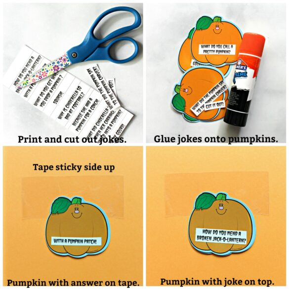 Collage with step by step images for flip up pumpkin decorations, with text overlay