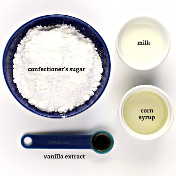Icing recipe ingredients with text overlay