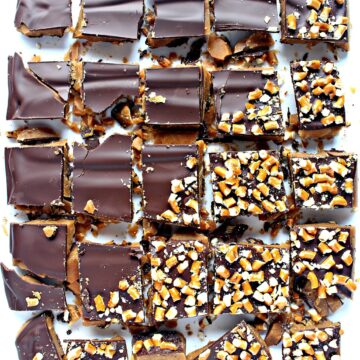 chocolate covered toffee cut into squares