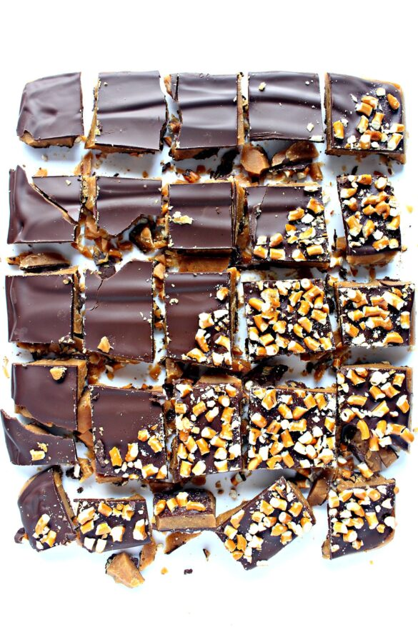 chocolate covered toffee sprinkled with chopped pretzels and cut into squares