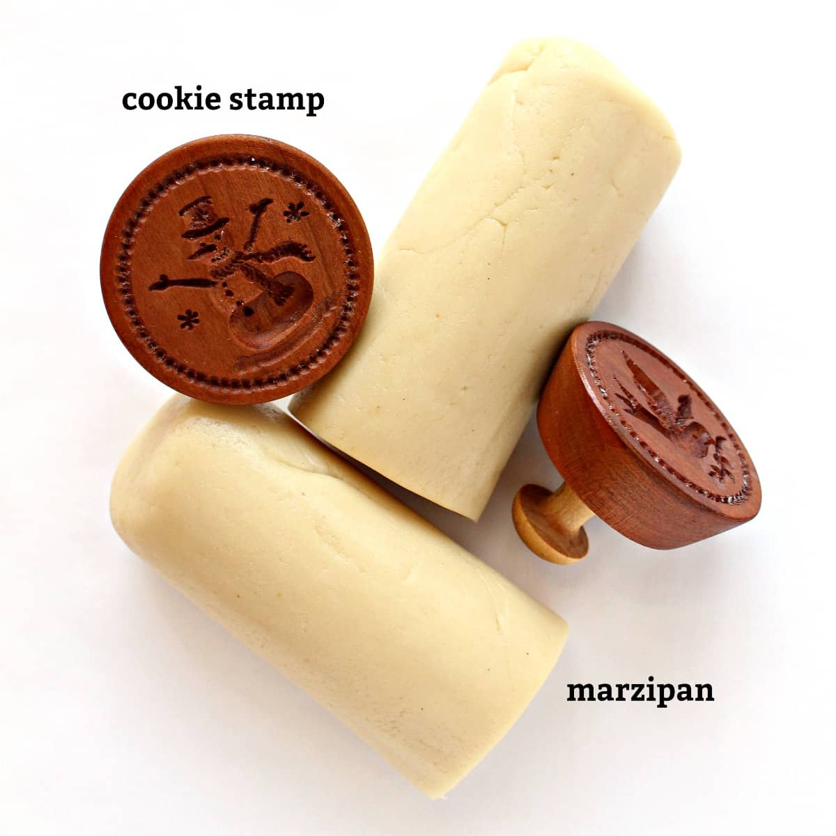 marzipan and cookie stamps with labels