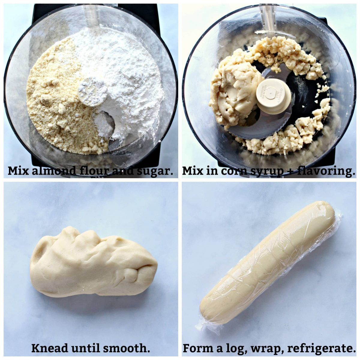 Recipe directions collage with text overlay; mix in food processor, knead, form log, wrap and refrigerate.