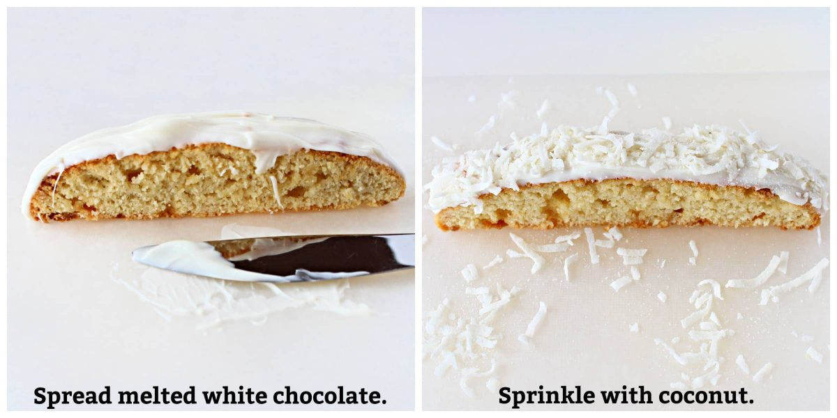 Two photo collage showing spreading melted white chocolate on biscotti and sprinkling with coconut.