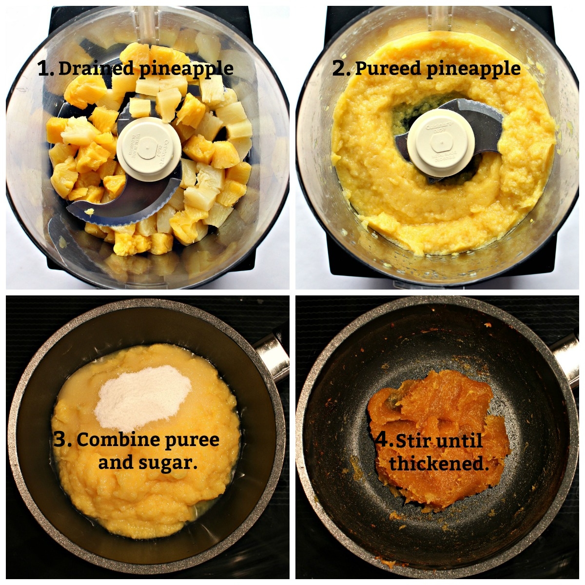 Step by step image collage making pineapple jam in food processor : drain, puree, cook until thickened.