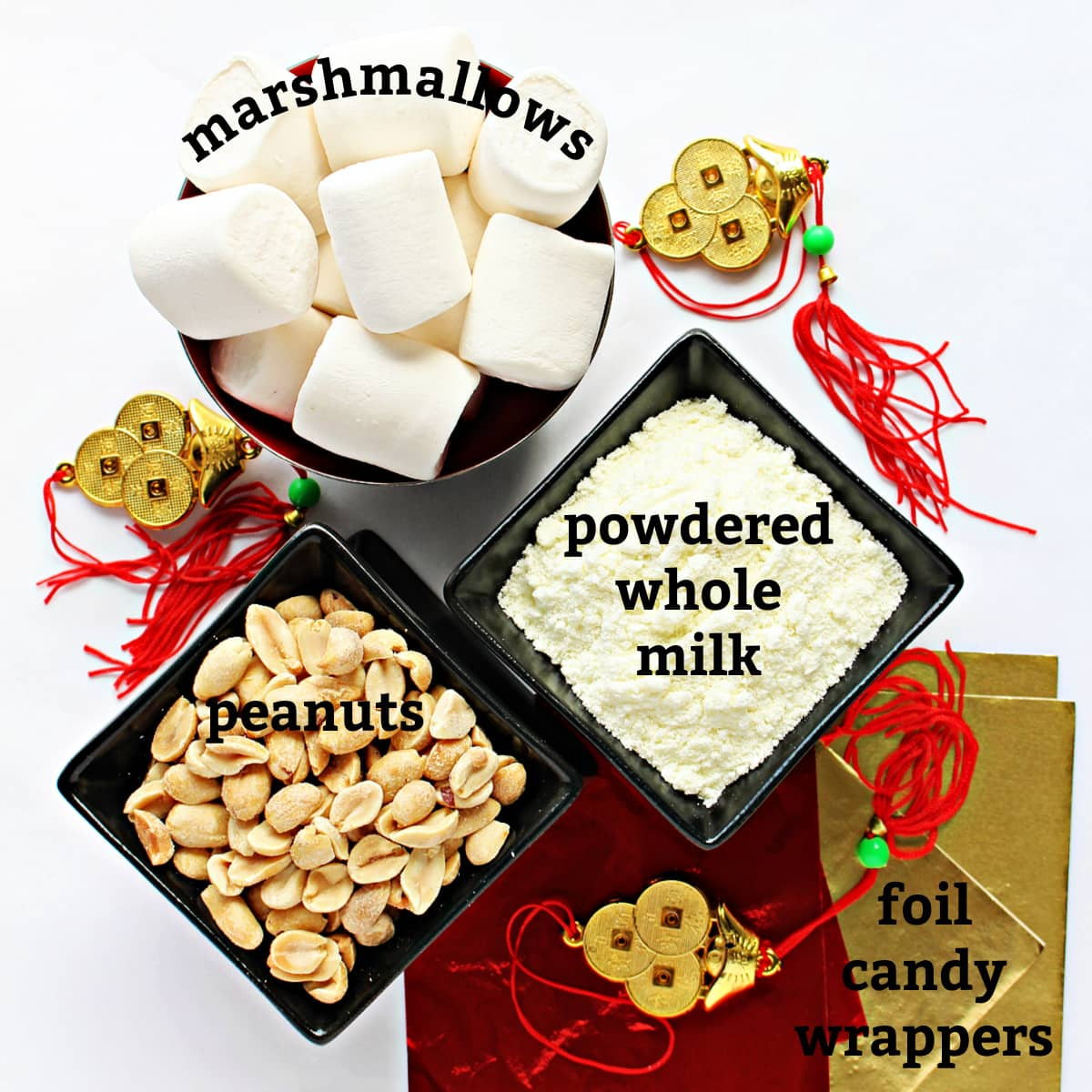 Recipe ingredients with text for marshmallows, peanuts, powdered whole milk, foil candy wrappers.
