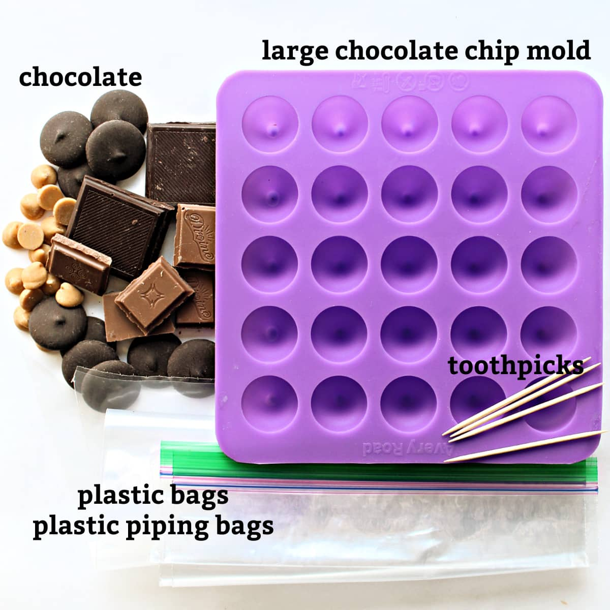 Materials needed are candy mold, chocolate, toothpicks, plastic bags or piping bags.