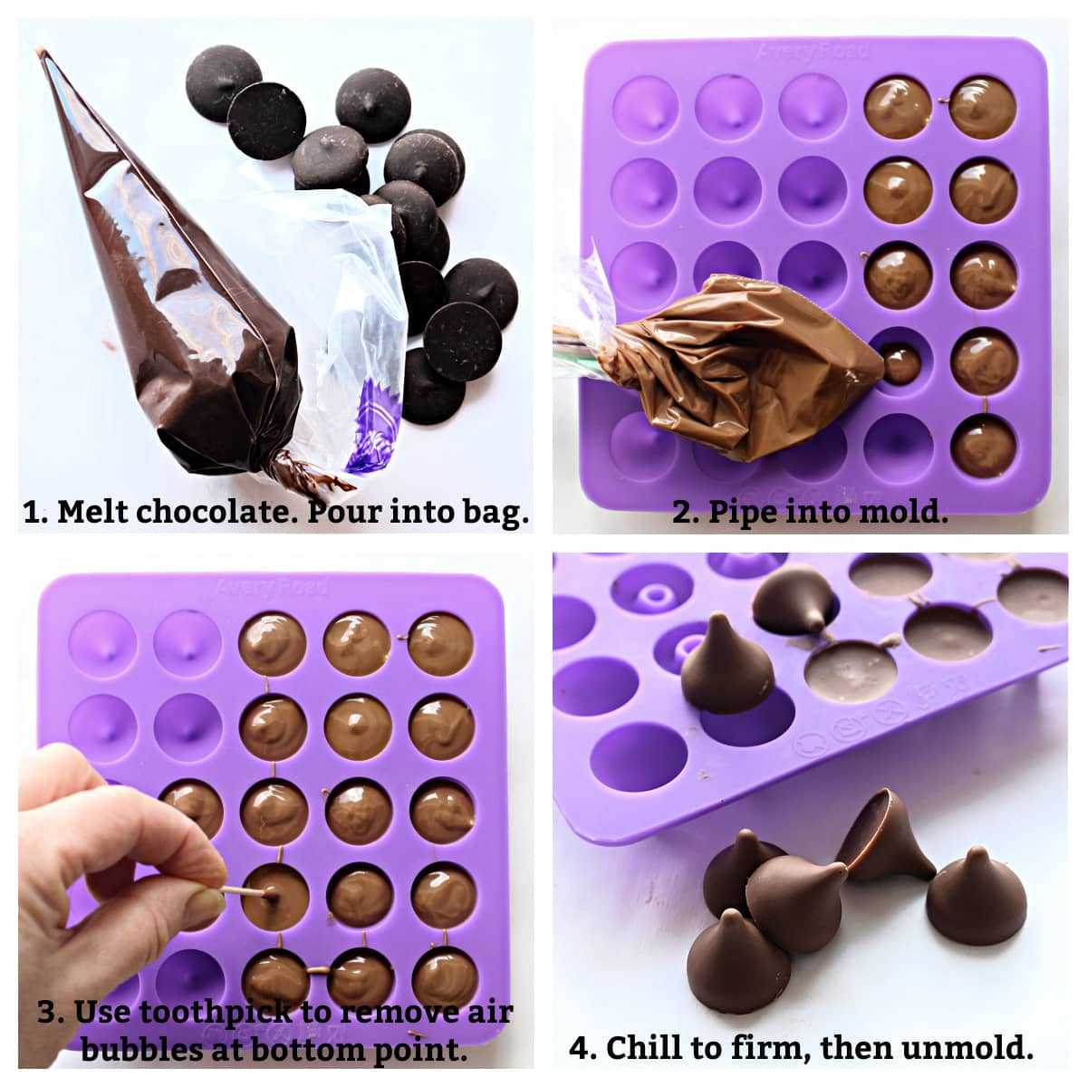 Directions collage: melted chocolate in bag, pipe into mold, removing air bubbles with toothpick, chill, unmold.