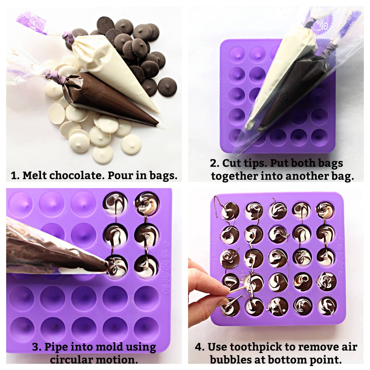 Directions for swirled candy: melted white and dark chocolate in bags, both bags together, fill mold.