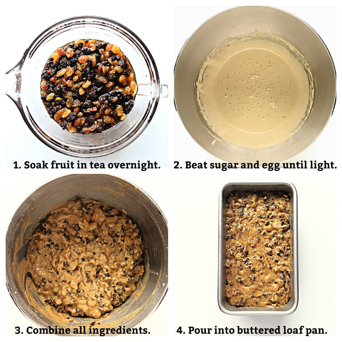 Instructions collage showing soak fruit, beat egg and sugar, combine ingredients, pour into buttered pan.