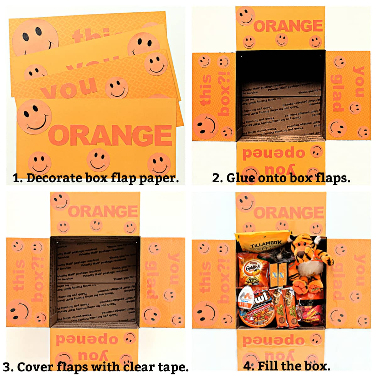 Decorating instructions; decorate paper, glue paper on box flaps, cover with tape, fill the box.