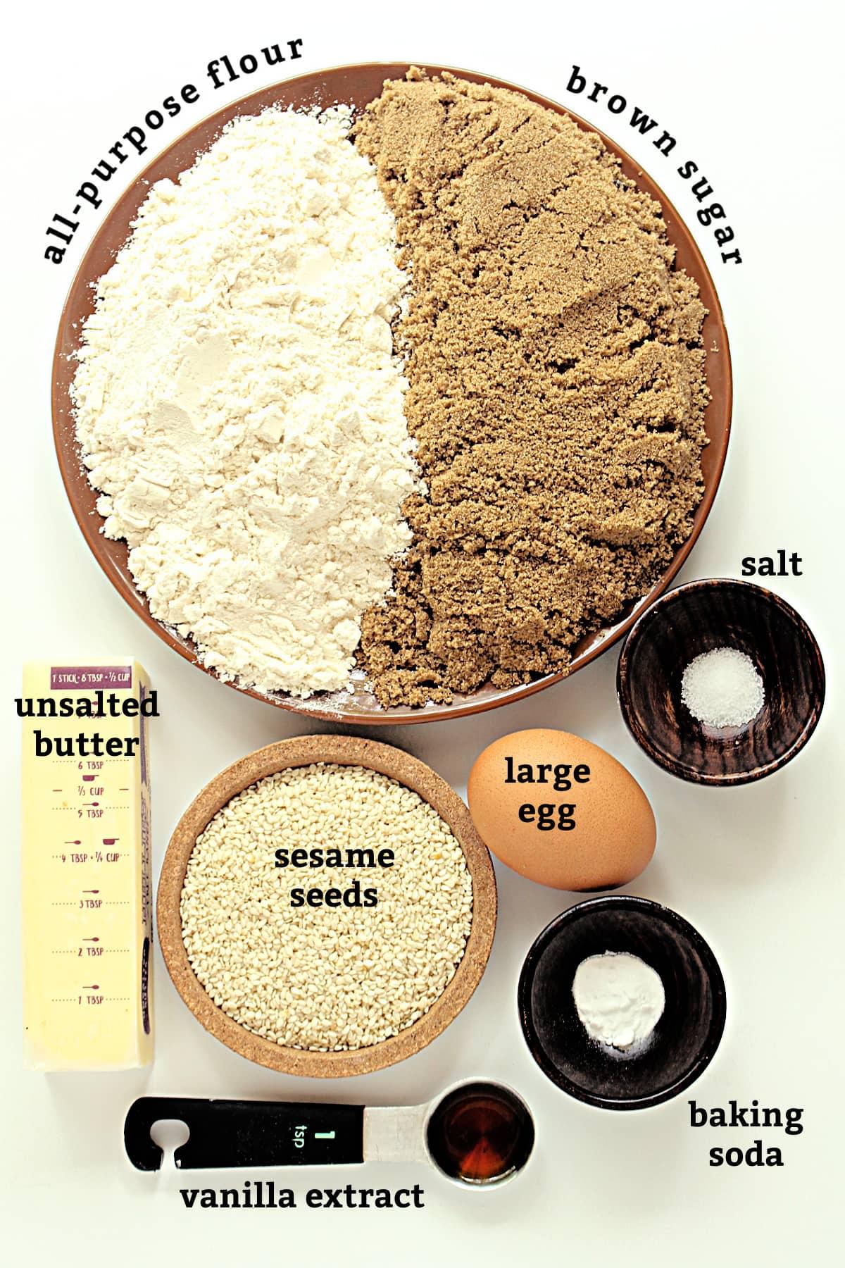 Benne Wafer ingredients with labels: flour, brown sugar, salt, egg, sesame seeds, baking soda, vanilla, butter.