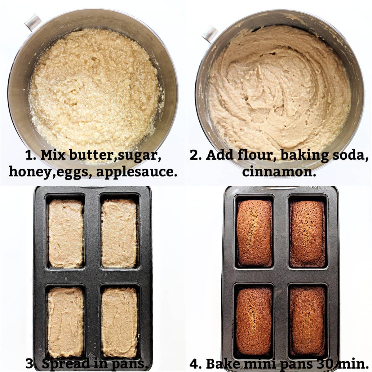 Honey Cake instructions; mix wet ingredients, add dry ingredients, spread in pans, bake until golden.