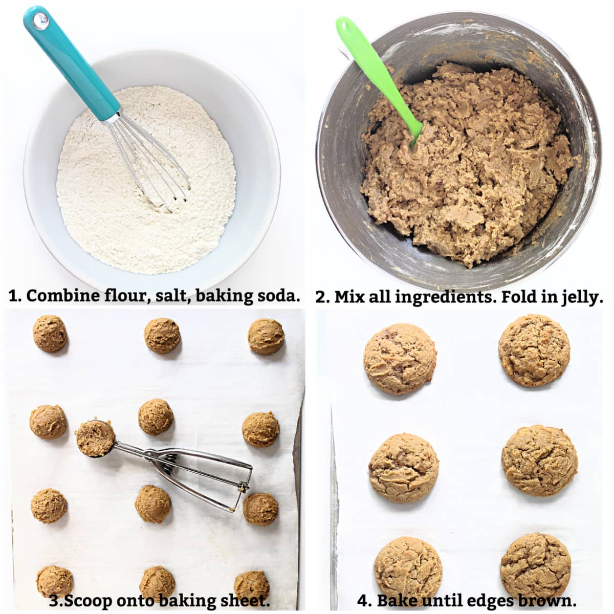 Cookie process collage; whisk dry ingredients, combine all ingredients, scoop dough balls, bake until edges brown.